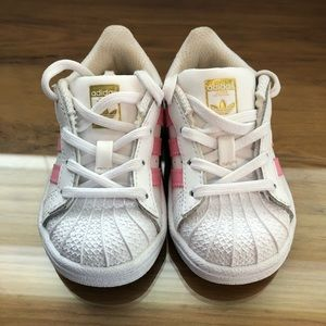 Girls Pink Adidas Superstar shoes
